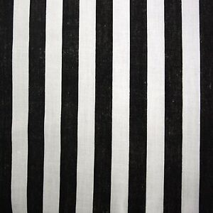 Black White Pirate 11 Mm Stripe Polycotton Fabric Per Metre