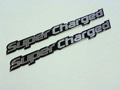 "Pair LH /& RH Ford Mustang Cobra Supercharged Chrome Emblems 7 3//8/"" x 1//2/"""