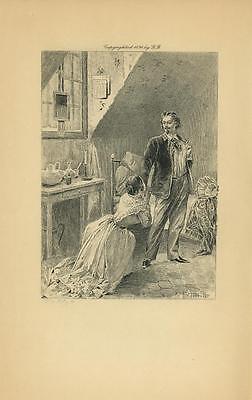 ANTIQUE VICTORIAN WOMAN DRESS ROMANCE MAN PITCHER BOWL CANDLE TILE FLOOR PRINT