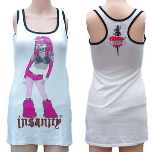 PURPLE-CYBER-GIRL-WHITE-LONG-VEST-DRESS-TOP-Size-8-ALTERNATIVE-GOTHIC-EMO