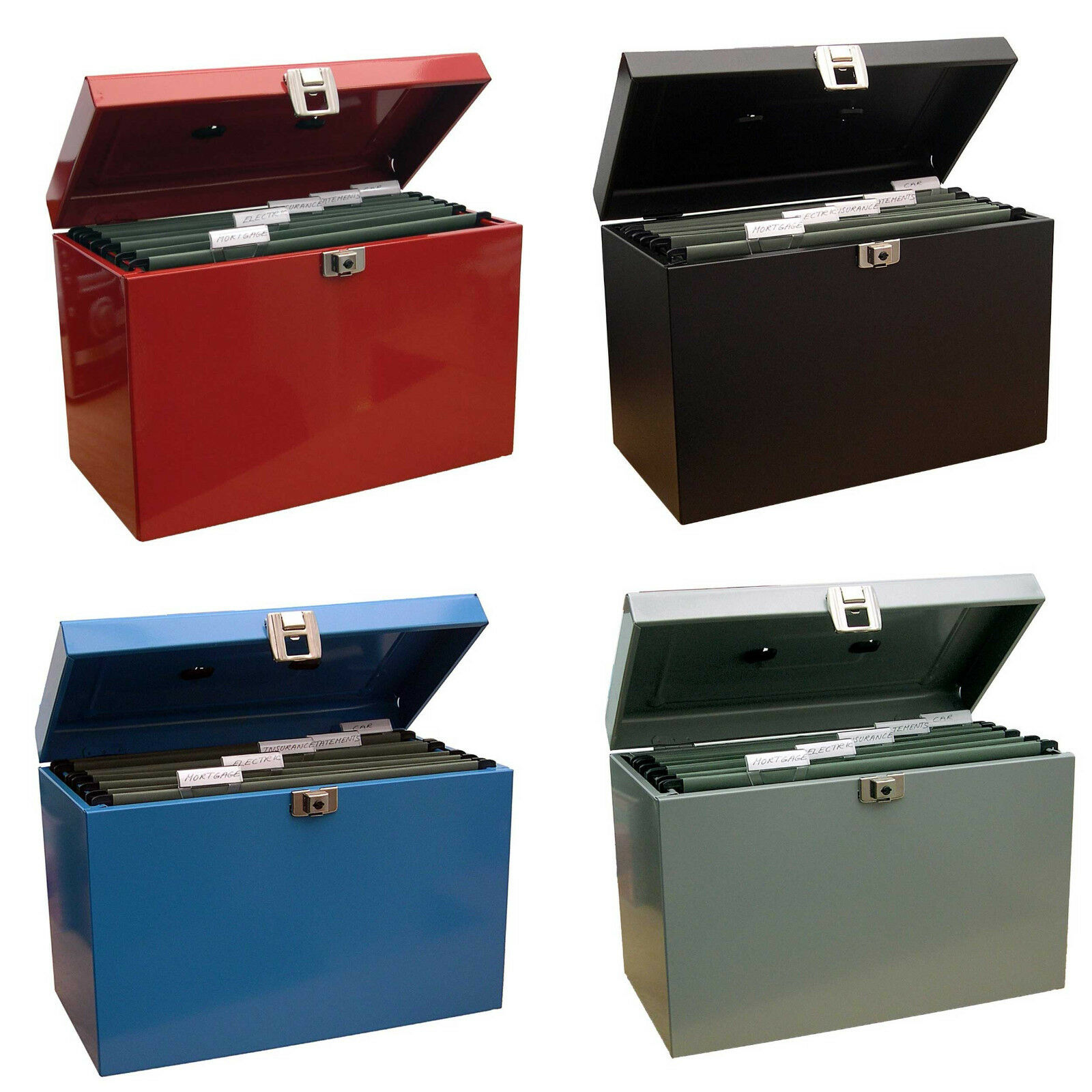 Lockable A4 Metal File Box Filing Storage inc. 5 Free Suspension Files  sc 1 st  eBay : funky box files - Aboutintivar.Com