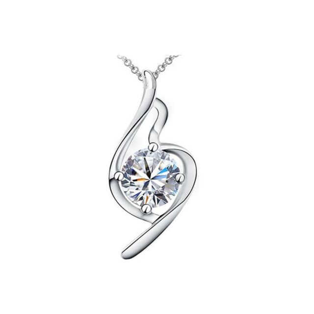 Beautiful Women's Necklace Clear Crystal Stones Bridal Clef Design BG1519