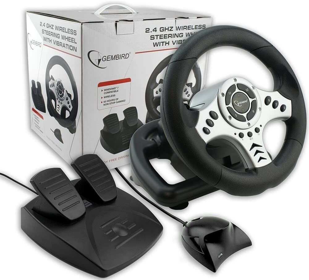 2.4 Ghz Wireless Steering Wheel With Vibration By Gembird. For Windows 7. NEW.