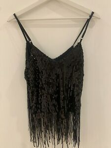 SEQUIN-TASSEL-CAMI-TOP-M-10-GLAM-PARTY-STRAPPY-SUMMER-HOLIDAY-TOWIE-PARTY-CELEB