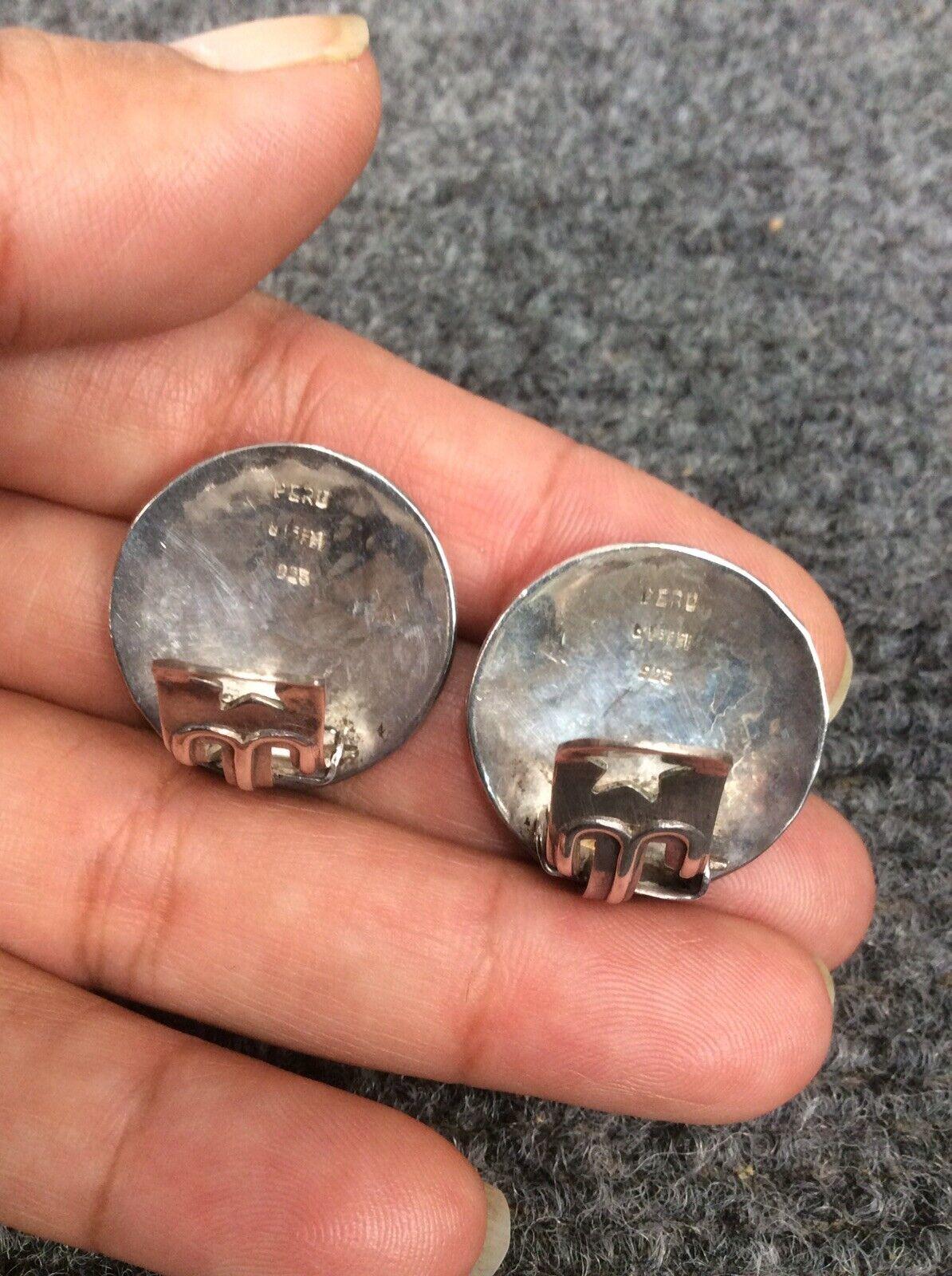 Vtg  Peru G.Laffi  sterling Silver 925 clip on ea… - image 4