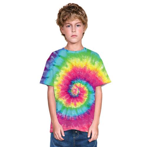 Kid Boys Girls Tie Dye Short Sleeve T-Shirt Causal Loose Festival Dance Tee Tops
