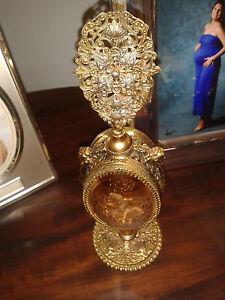 Antique-Checoslovaquian-Perfume-Bottle-Gold-Filigree-Bevel-Glass