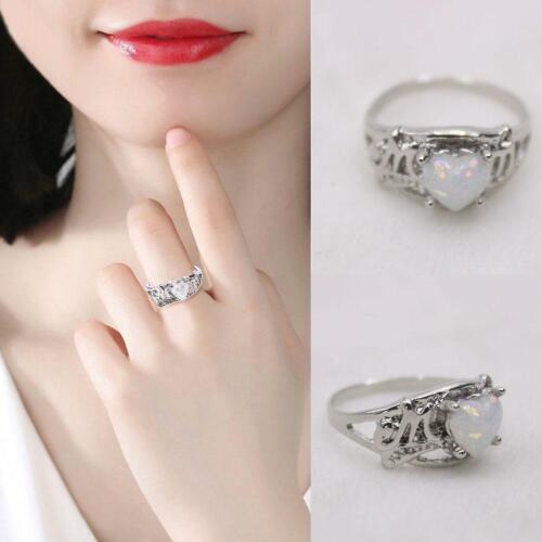 Weiß Feuer Opal Silber Mom Partei Hochzeit Verlobung Frau Ring Geschenke