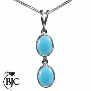 BJC-9ct-White-Gold-Natural-Turquoise-Double-Drop-Oval-Pendant-amp-Necklace