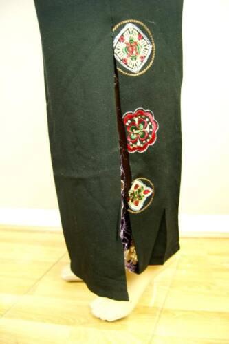 NUOVO Splendido Tradizionale Nero cinesi orientali TORCE ricamo Pantaloni Pants