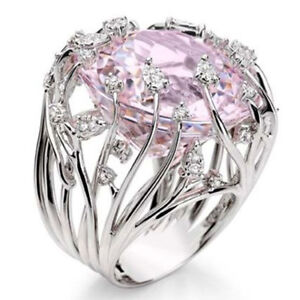 Vintage Pink Sapphire 925 Silver Ring Women Engagement Bridal Jewelry Sz 6-10