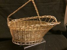 """Vintage Silver Plated Wire Wine Bottle Basket Holder 10"""" Perfect"""