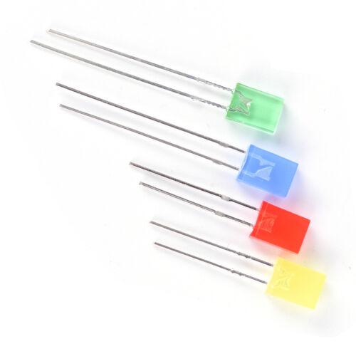 100pcs Rectangular Square LED Emitting Diodes Light Bulbs Yellow//Red//Blue//GMAEK