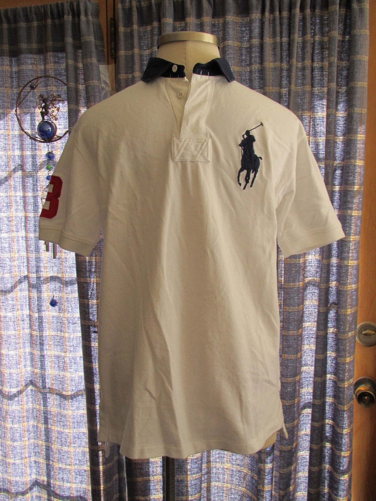 Mens Ralph Lauren Big Pony Cotton White With Navy Trim SS Rugby Shirt NWT  L