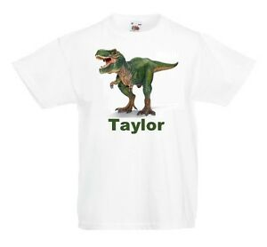 Personalised-T-Rex-T-Shirt-Boys-Girls-Top-Childs-Tee-dinosaur-age-size-cute-gift