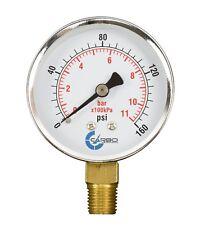 2 12 Pressure Gauge Chrome Plated Steel Case 14npt Lower Mnt 160 Psi