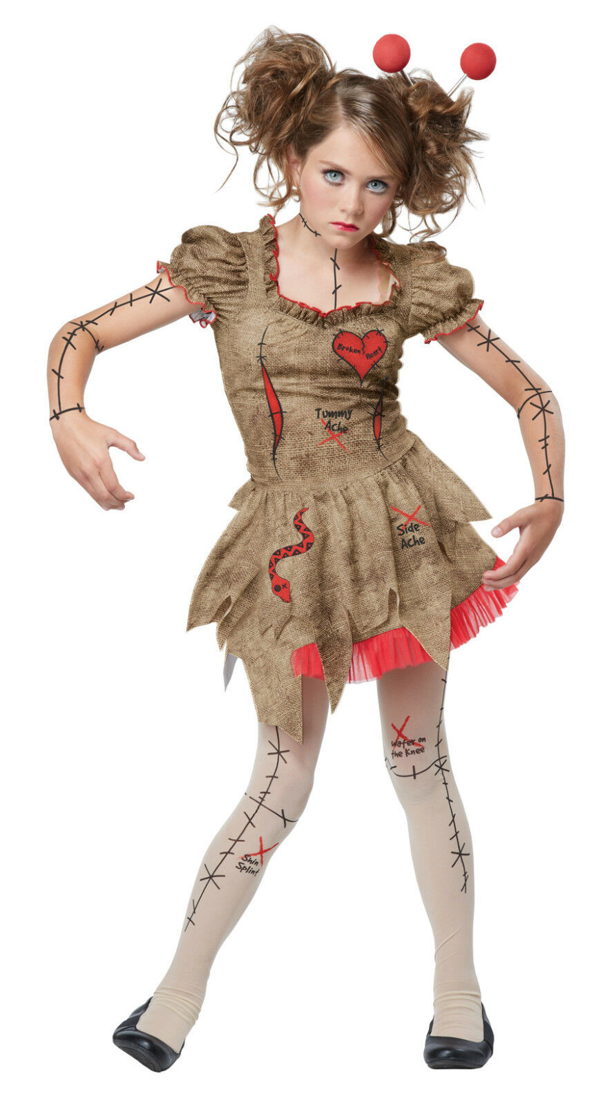 Voodoo Doll Ladies Fancy Dress Cursed Dolly Halloween Adults Womens Costume New