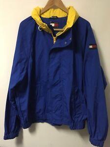 Vintage-TOMMY-HILFIGER-Full-Zip-Hooded-Nautical-Jacket-Men-039-s-Size-XL-Blue-Yellow