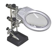 HELPING HAND MAGNIFIER + LIGHT CROC CLIPS jewelery radio electronics soldering