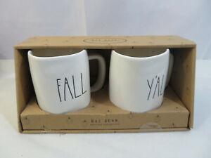 NEW-Rae-Dunn-Fall-Yall-Mug-Set-Of-2-Thanksgiving-FALL-Y-039-ALL-Ceramic-LL-Lettering