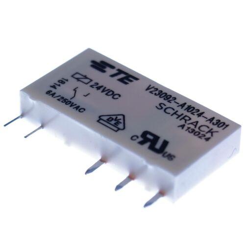 Schrack 24V 6A 1xUM Flach SNR Netz Relais V23092-A1024-A301 1xWechsel Kontakt