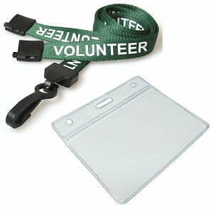 Green-Volunteer-Neck-Lanyard-amp-ID-Card-Pocket-Pouch-FREE-DELIVERY-Lot