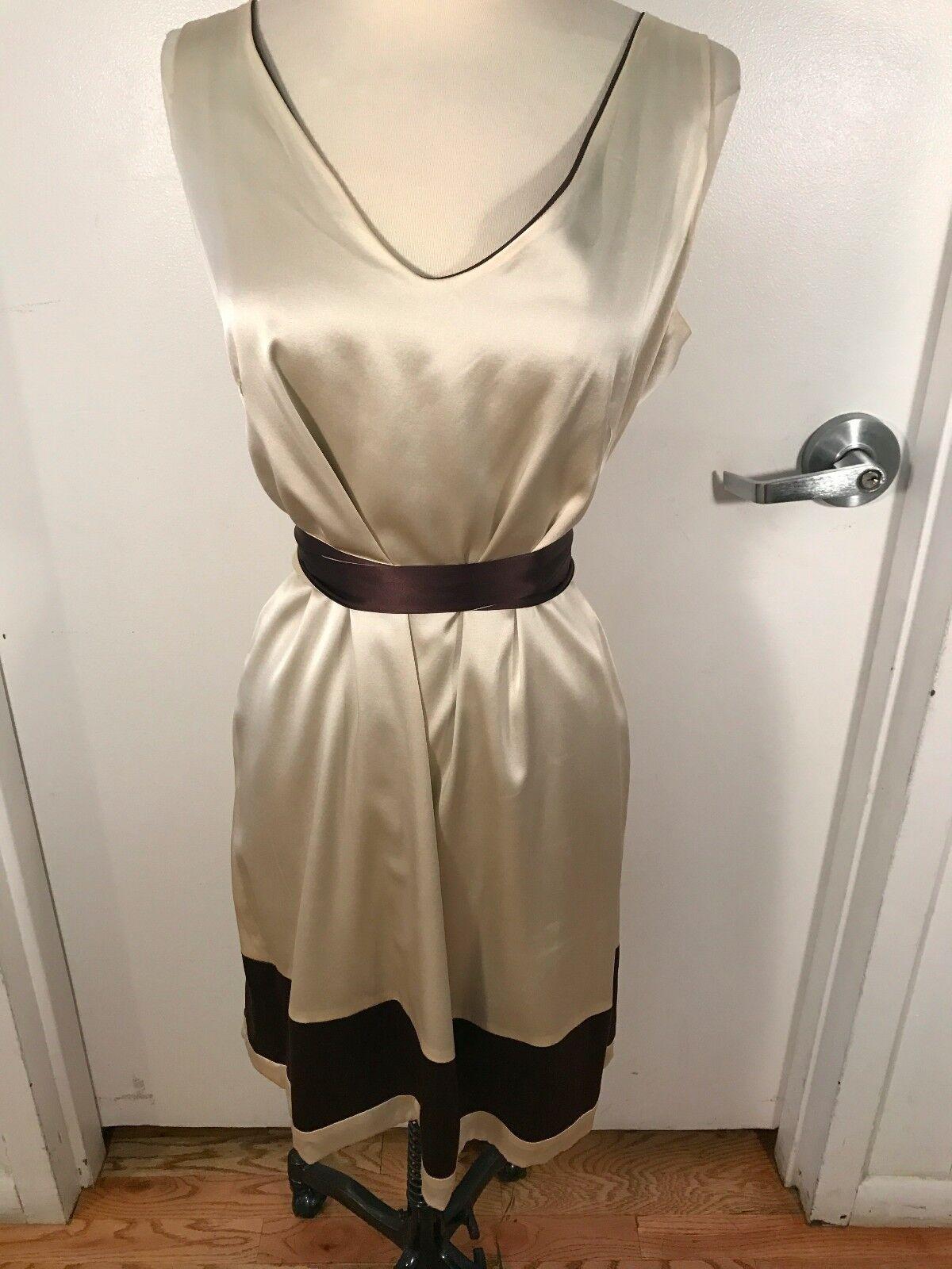 Anya Pongoldvskaya Reversible Brown and Cream Silk Dress