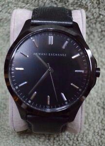 7cf4af1f819 Image is loading Armani-Exchange-Hampton-Black-Dial-Black-Leather-Mens-