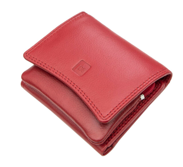 Prime Hide Xenia RFID Blocking Red and Taupe Leather Trifold Purse NEW