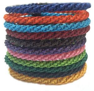 Fair-Trade-Waxed-Braid-Weave-Cord-Thai-Buddhist-Mens-Cotton-Wristband-Wristwear