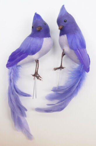 set of 2 9 inch Feather LOVE birds couple spring pastel color wire feet