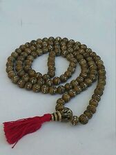 Tibetan Buddhist Buddha Eye Carved on Conch 108 Prayer Beads 8-10mm - Nepal