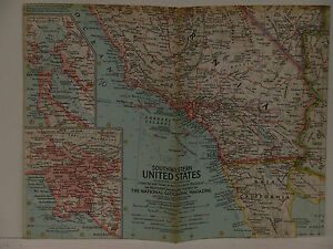 Details about Vintage 1959 National Geographic Map of Southwestern United  States