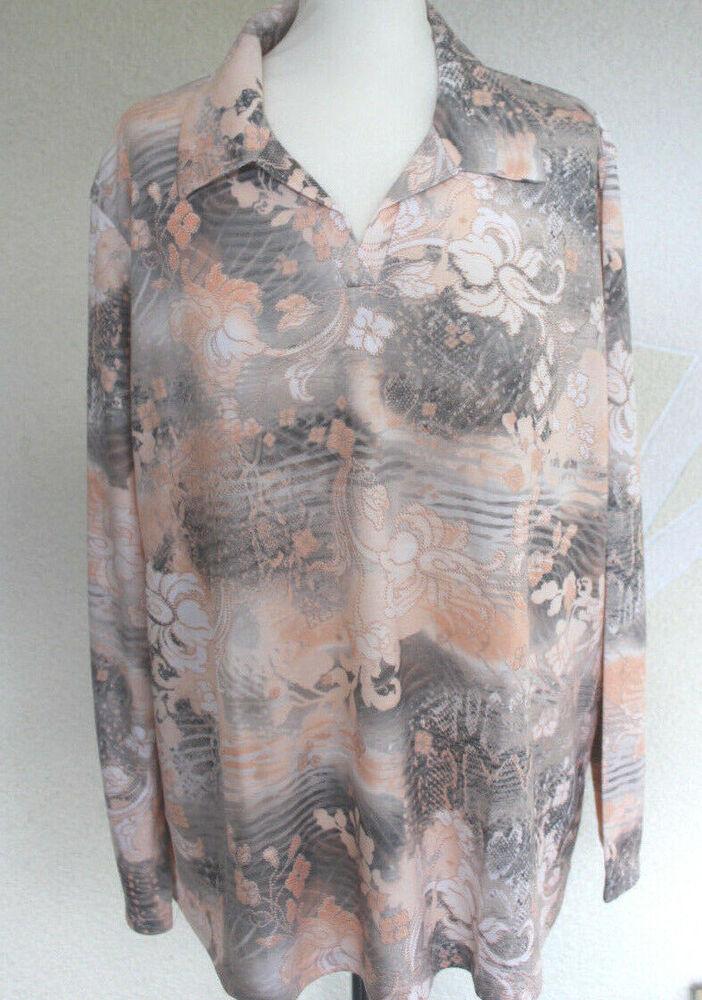0214 Dames Shirt Polo Manches Longues Motif Blouses Shirt Abricot Taille 52