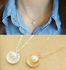 #7040 New Fashion Simulated Pearl Jewelry Silver Plated Shell Statement Necklace