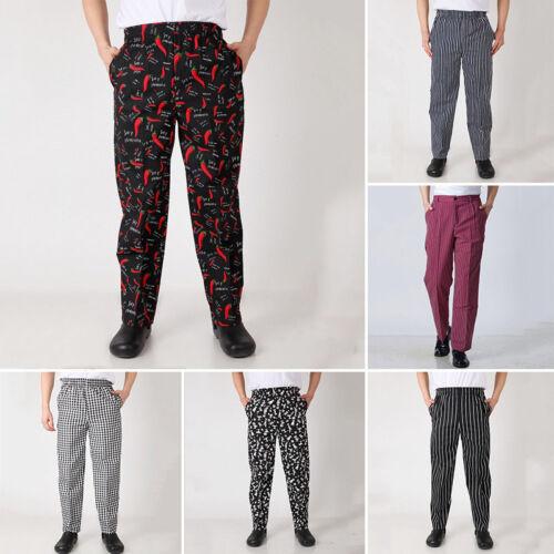 Chef Work Pants Elastic Waist Trousers Restaurant Dining Hall Uniform Slacks Hot