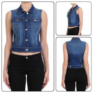 Womens-Denim-Vest-Jacket-Button-Up-Sleeveless-Cropped-Distressed-Jean-JaCKET