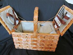 Large Picnic Basket Set Wicker 2 Person Plates Silverware Wine Insulated Cooler