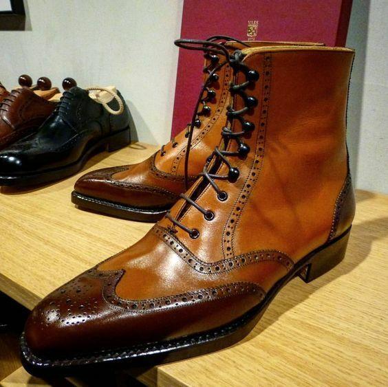 Hombres Marrón Cuero punta del ala tobillo bota de cuero cuero para hombre mano bruñido Botín