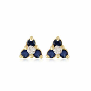 9ct-Yellow-Gold-0-30ct-Sapphire-amp-Diamond-Floral-Cluster-Stud-Earrings