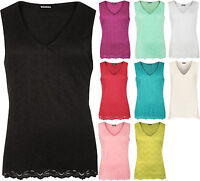 Womens Plus Floral Flower Crochet Lace Lined Sleeveless V-Neck Vest Ladies Top