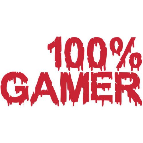 """Sticker Déco Texte /""""100/% GAMER/"""" Cool Sanglant XXL 35x70 cm à 100x200 cm JEU002"""