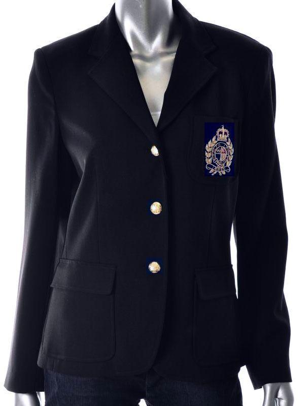 Nuevo Polo Ralph Lauren Cresta Para  Mujer Azul Marino Chaqueta Blazer de lana l grande 12  ahorra hasta un 80%