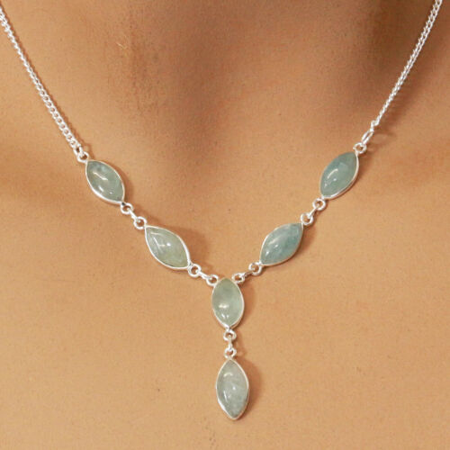 Aquamarin Halskette Silber 925 Collier 40 cm Kette Edelsteine Cabochon