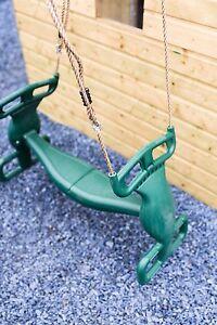 Plastic-Green-Glider-Swing-Duo-Seat-Rocker-Double-Tandem-Rocket-See-saw