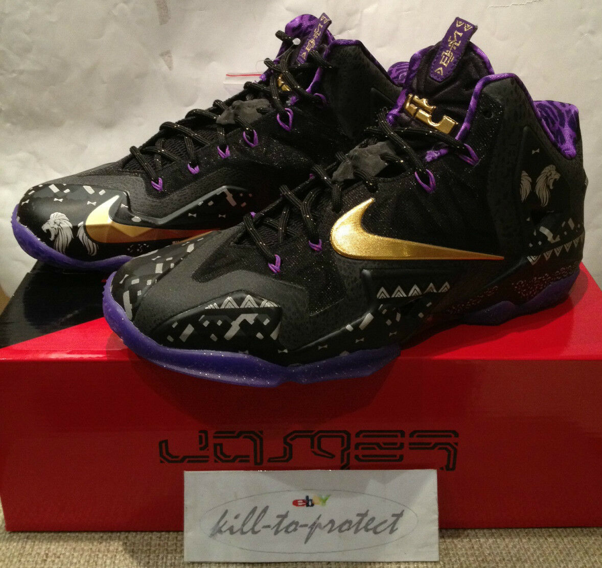 NIKE LEBRON 11 BHM Black History Month US UK7 8 9 10 11 12 13 gold Purple 2014