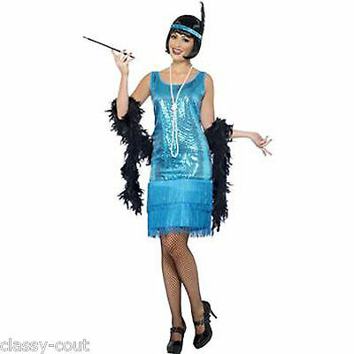 1920's Flirty Charleston Flapper Dress Costume Outfit -10,12,14,16,18 Plus Size