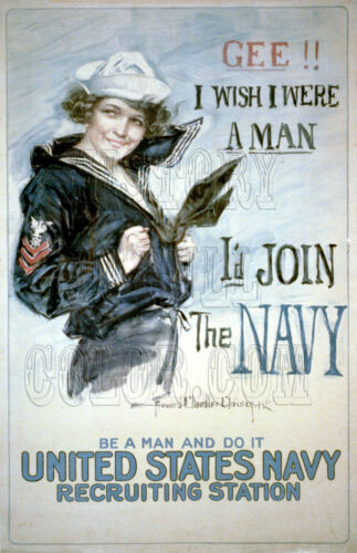 Gee I Wish I Were A Man WWI Navy Recruitment Poster Photo Christy Howard 3b52086