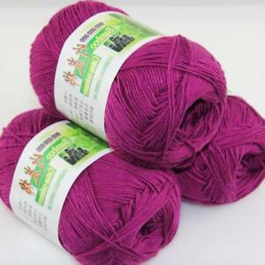 Sale New 3 Skeinsx 50g Soft Bamboo Cotton Baby Hand Knit  Shawls Crochet Yarn 25