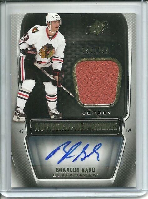 2011-12 SPx Autographed Rookie Jersey Brandon Saad 250/799 - Chicago Blackhawks